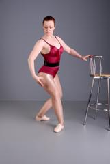 lady ballet dancer warm up exercises