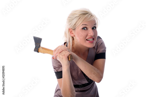 blonde with axe