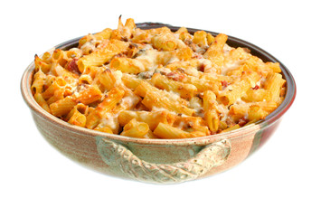 Full Pan of Baked Ziti on White