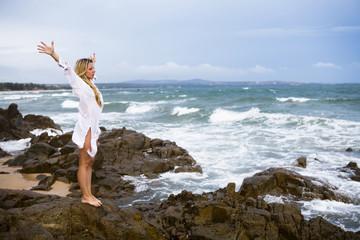 blonde at coastline