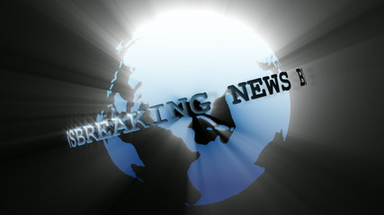 Highlighted globe with breaking news sign