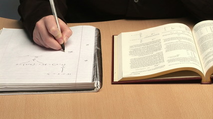 A person studying