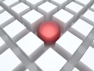 Sphere among cubes