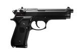 Black semi automatic handgun isolated on white background poster