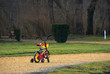 Toy bicycle in park brighter