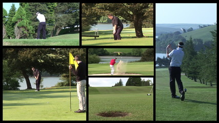 Collage of men playing golf footage