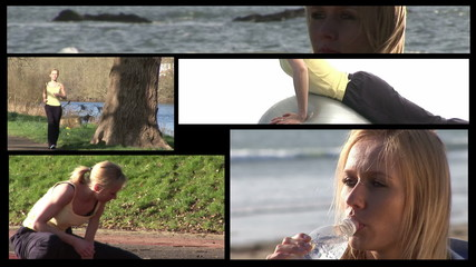 Collage of young sportive woman footage