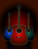 Trio of realistic acoustic guitars poster