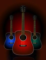 Trio of realistic acoustic guitars