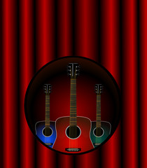 Three acoustic guitars in a cut out over stage curtains