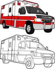 Vector Drawing of an Ambulance - color and lines