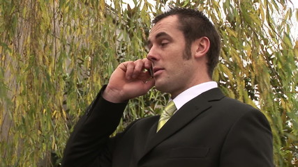 Young businessman speaking on phone in a park