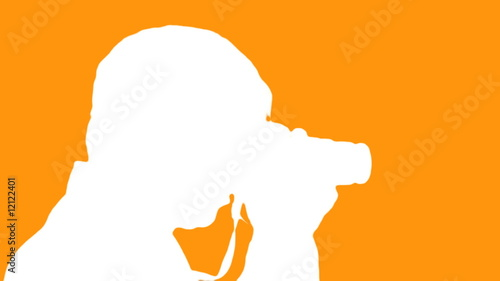 Photographer silhouette against orange - HD