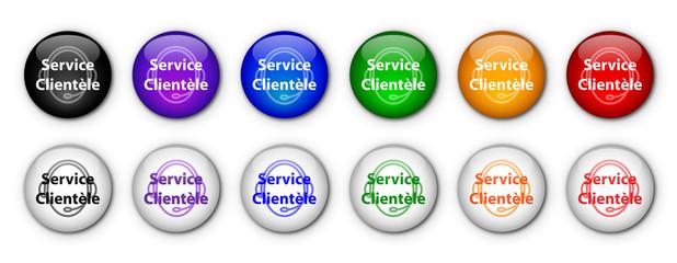"""Boutons """"Service Clientèle""""  (arc-en-ciel)"""
