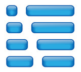 Rectangular Buttons of varying lengths (blue) poster