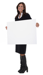 Business woman holding a sign