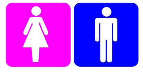 Girl / Woman Sign & Boy / Man Sign Isolated