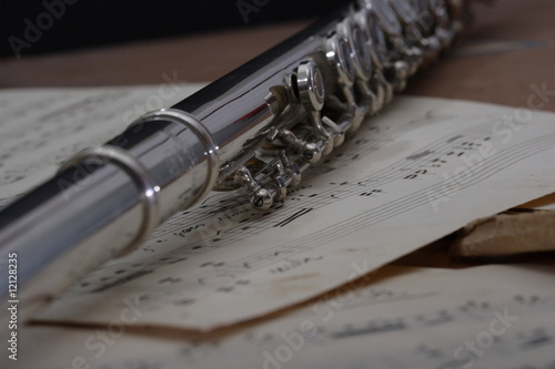 Flute and old Sheet music