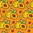 roleta: Seamless bright orange pattern with apricots