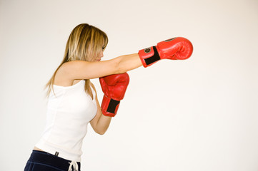 kickboxer woman training