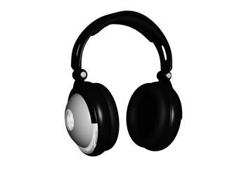 3d digital headphones isolated on white