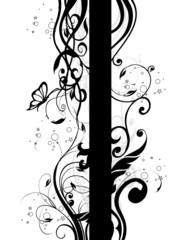 barre verticale floral noir et papillons