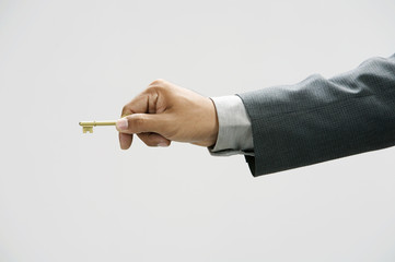 man using a key