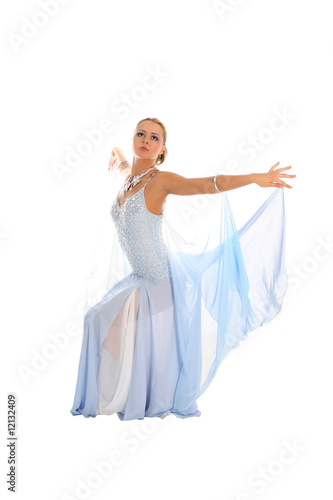 blonde dancer in classical blue-white dress