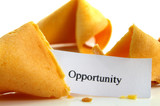 Opportunity fortune cookie, closeup on white poster