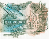 Close-up of an old English bank note poster