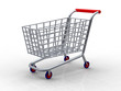 3D rendering of trolleys on white background