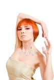 Redhead with rhinestones poster