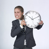 anxious businesswoman with clock poster