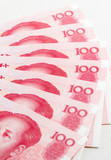 One hundred Chinese yuan notes poster