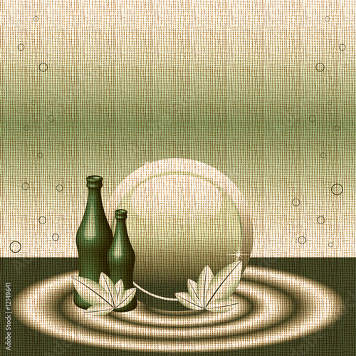 Colorful background with two green bottles