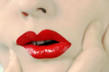 Young woman mouth red lipstick