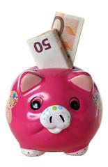 salvadanaio con euro su fondo bianco