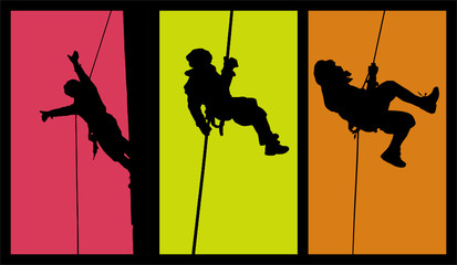 Three Abseiling Silhouette