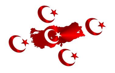 big turkish map and flag