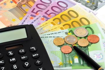 Taschenrechner, Tischrechner, Geld, Stift