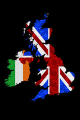 United Kingdom & Ireland - Flag Map on Black