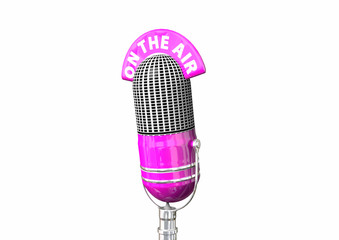 Hot Pink Antique Microphone On White