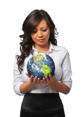 Young asian businesswoman holding the earth