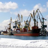Winter in seaports.