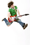 Fototapety passionate guitarist jumps in the air
