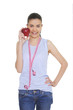 Portrait of cute young woman holding red apple