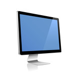 Futuristic monitor on white with reflection and blue screen