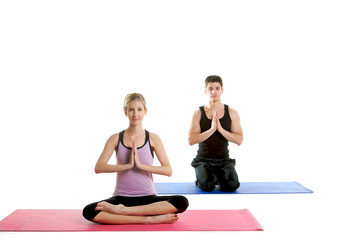 Attractive Couple Doing Yoga