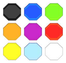 Octagon Plastic Buttons