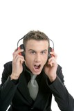 Businessman shout, noisy enviroment, headphones